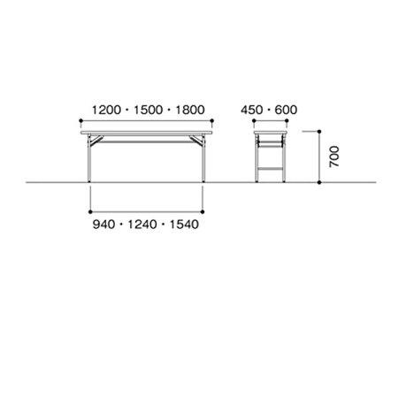 ニシキKT折りたたみ式ミーティングテーブル棚付W1200D600H700