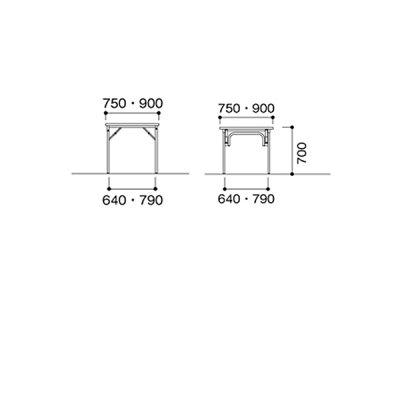 ニシキTGS折りたたみ式ミーティングテーブルW750D750H700TGS-7575