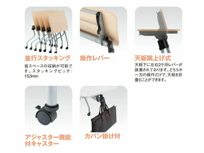 TOKIO跳ね上げ式ミーティングテーブルNTA-N1545W1500D450H720