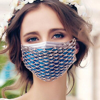 キラキラマスクカバービジューラインストーンお洒落なマスク通気性抜群男女兼用カッコイイファッションアクセサリー