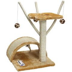 ミニタワー/猫タワー/ねこタワー/ネコ用品/爪とぎができる キャットタワーひとりでハッスル [ミ...