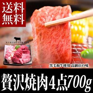 焼肉セット700g 送料無料 黒毛和牛肉 国産 カルビ ロース使用 焼き肉セット,バーベキューセット...