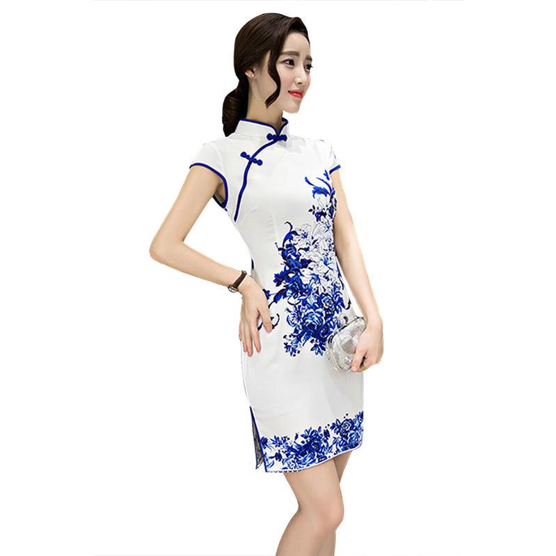 27ffbd75512d3 あす楽 ショート丈 ミニ チャイナドレス コスプレ 衣装 中国ドレス  白×青
