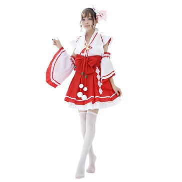 【白×赤/4】あす楽 赤スカート 巫女 みこ コスプレ 衣装 コスチューム レディース ファッション 仮装