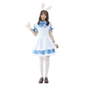 e61abcf82f89b  水色×白 6 あす楽 ウサギみみ メイド服 コスプレ衣装 コスチューム