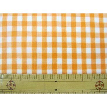定番ギンガムチェック110cm巾  【大】6mm角  (オレンジ) ラミネート