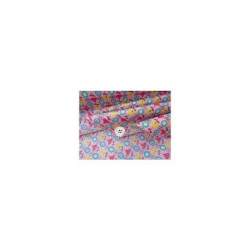 レトロ ポップフラワー 花柄 スケアプリント (ピンク) ラミネート