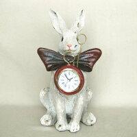 アンティーク調ラビット時計クロックウサギ置物レトロプレゼント樹脂製