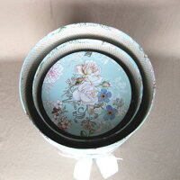 【数量限定】ブルーローズラウンドBOX3個セットマトリョーシカ箱紙プリント薔薇模様