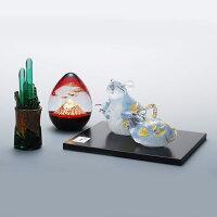 縁起物2020干支子(ネズミ)銀子親子鼠工芸品台付置物日本製吹きガラス令和2年記念品贈り物贈答品ギフトプレゼント干支クリスタル開運お正月お祝内祝還暦新築引越し招福綺麗可愛いクリア福ねずみ
