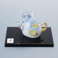 縁起物2020干支子(ネズミ)銀子鼠工芸品台付置物日本製吹きガラス令和2年記念品贈り物贈答品ギフトプレゼント干支クリスタル開運お正月お祝内祝還暦新築引越し招福綺麗可愛いクリア福ねずみ