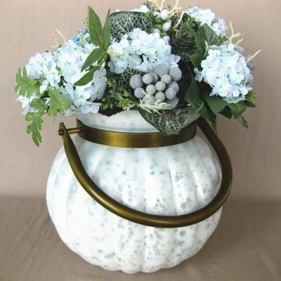 淡い色のスリガラスがとても美しいフラワースタンド 取っ手付き★ガラス製フラワーベースB パン...