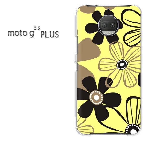 DM便送料無料 MOTOROLA moto g5s PLUSMOTO moto g5s PLUSクリア 透明 ハードケース ハードカバーアクセサリー スマホケース スマートフォン用カバー[花・シンプル(黄)/motog5splus-pc-new1735]