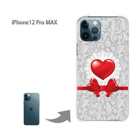 ゆうパケ送料無料 iPhone12ProMAX ケース新型iPhone アイフォン iPhone12ProMAX PCケース おしゃれ 人気 カワイイアクセサリー スマホケース カバー ハード ポリカーボネート[ハート・リボン(グレー・赤)/i12promax-pc-new0616]