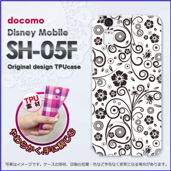DM便送料無料★TPUソフトケース★docomo Disney Mobile SH-05F用ケース[sh05f ケース][ケース/カバー][花・レトロ(黒)/sh05f-new1701]