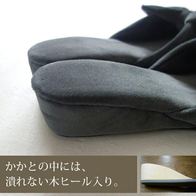 【母の日ギフトにも】甲がリボン☆おしゃれなヒールスリッパ 浅履きミュールタイプ ベルベットリボン 日本製 黒(ブラック)/S・M・Lサイズ