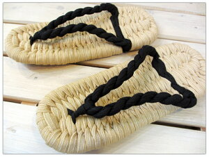 布わらじ(布草履)スリッパ ブラックロープ/M(〜24.5cm程度)・L(〜26cm程度)【鼻緒が足底筋を鍛える!蒸れ知らずの室内履き】