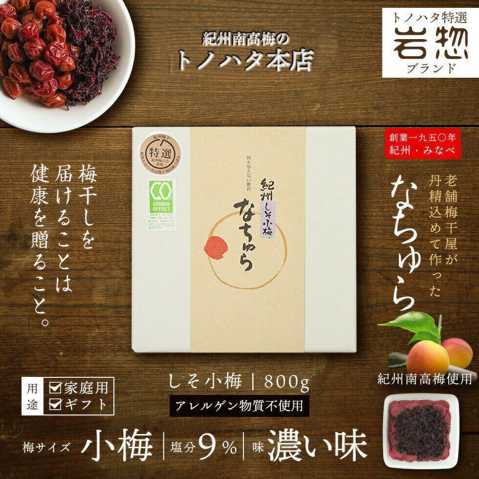 【トノハタ公式】しそ梅干なちゅら(しそ小梅)塩分減塩9%800g昔ながらの梅干
