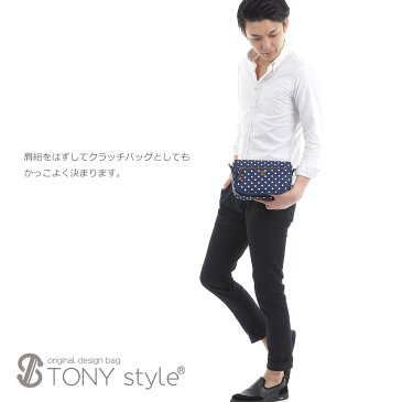 【TONYstyleオリジナルバッグ】レトロドットマルチポケットコンパクトショルダーバッグ<ブラック>黒色 水玉柄 ドット柄 軽量ショルダーバッグ ななめ掛けバッグ 多機能ポケット