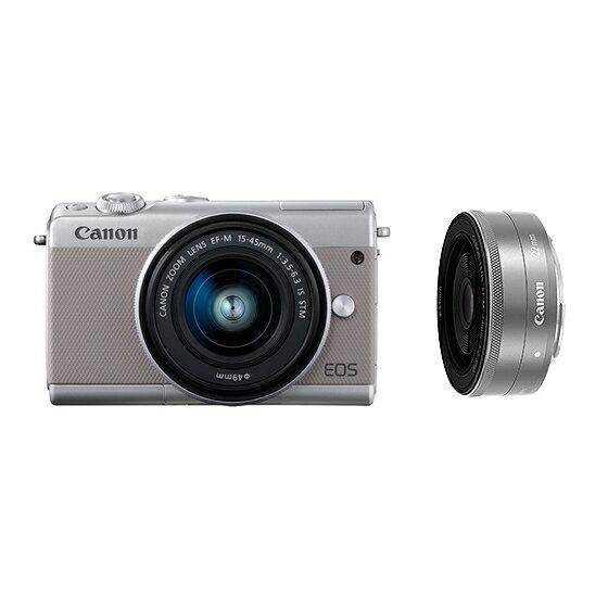 Canon キヤノン EOS M100・ダブルレンズキット GY(グレー) ミラーレスカメラ