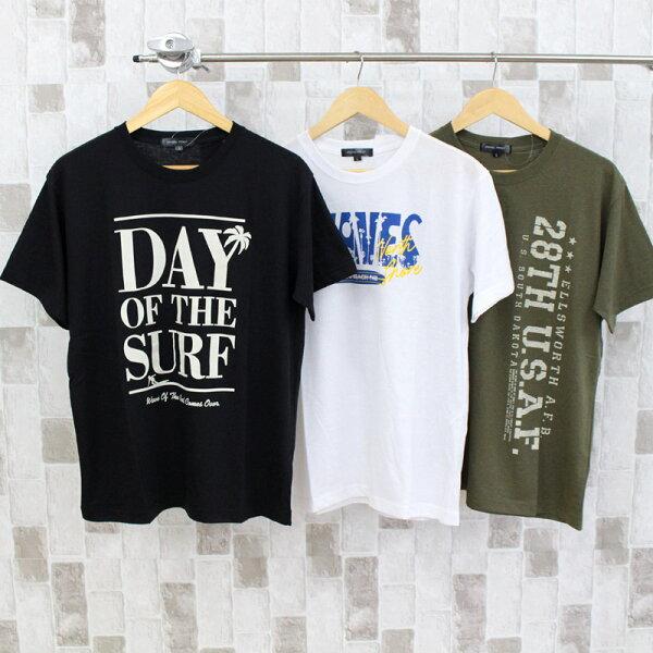 Tシャツメンズ半袖カレッジロゴプリントクルーネックティーシャツ大きいサイズトップスアメカジロゴT綿ブラックホワイトネイビーMLL