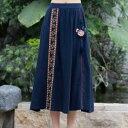 レディース スカート チャイナ風 ゆったり 民族風 刺繍 花柄スカート ナチュラル エスニックリネン 復古風スカート 写真撮影 演出服