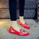 レディースシューズ 刺繍靴 婦人靴 中国風ボタン/民族風 カジュアル シューズ 太極拳 通気性 ブーツ 綿麻靴/チャイナ靴 手作り北京布靴 ローヒールエスニックチャイナシューズ痛くない 北京布靴