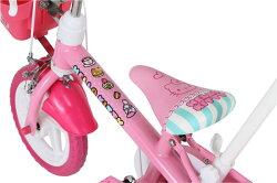 子供用自転車12インチ送料無料【完成品】ハローキティ12D(1401)幼児用自転車12インチキッズバイク【キティのカジキリ自転車ピンクと赤色のコンビネーション】【M&M】[D]【RCP】