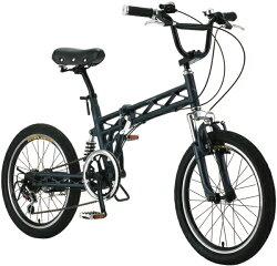 【送料無料】SALAMANDER(サラマンダー)アルミ20インチ折りたたみ自転車(マットブラック)【20-6FDS-FSB】【シマノ6段変速ギア・カギ・Wサスペンション・アルミフレーム・つや消しフレーム】S-TECH(サカモトテクノ)【円高還元】