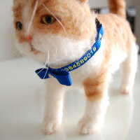 りぼん刺繍ネコ首輪Sサイズ猫首輪名前入電話番号ネーム首輪ラインストーン首輪タイプの迷子札刺繍の関係で首周り16cmから制作になります。