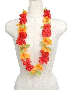 フラダンス衣装 レイ ハワイアンレイ フラワーレイ ハワイ 花飾り イベント フラ M-30 ルアウレイ レッド・オレンジ