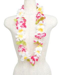 フラダンス衣装 レイ ハワイアンレイ フラワーレイ ハワイ 花飾り イベント フラ M-31 ルアウレイ ふちピンク・白中黄