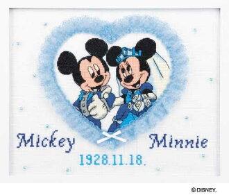 奧林巴斯十字繡刺繡套件 7197 歡迎板迪士尼米老鼠和米妮婚禮