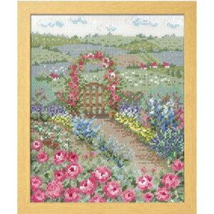 Olympusクロスステッチ刺繍キット 7424 「バラの花咲くピーターの庭」 オノエ・メグミの物語からの花咲く風景 オリムパス ピーターラビット Peter Rabbit Flower garden from a fairy tale