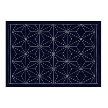 Olympus刺し子布 L-2003 刺し子のランチョンマット / 麻の葉 (藍) 刺子 ランチョンマット作り方つき