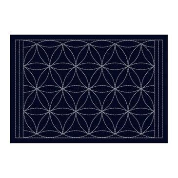 Olympus刺し子布 L-2004 刺し子のランチョンマット / 花車 (藍) 刺子 ランチョンマット作り方つき