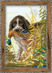 RIOLISクロスステッチ刺繍キット No.1151 「Hunting. Spaniel」 (狩猟犬 スパニエル)[HAND WORK とりい]