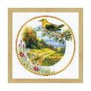RIOLISクロスステッチ刺繍キット No.1693 「Plate with Oriole」 (コウライウグイスのプレート) 【海外取り寄せ/納期1〜2ヶ月程度】