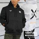 パーカー VENTURA 529 フーディ トレーニングウェア メンズ レディース 長袖 裏起毛 白黒 ウェア トップス カジュアル ストリート トレーニング 大きいサイズ ロゴ 刺繍 スポーツ アウトドア アスレジャー