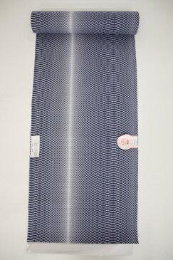 新柄 女物浴衣反物 宴 綿絽・型染 青紫 綿100% お仕立て 生地 ブランド レトロ 浪漫 教材用 和裁 学校教材 御稽古 習い事 浴衣生地 女性 両耳反物 メール便不可