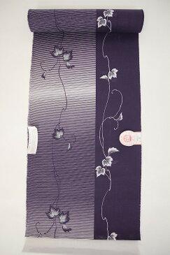 新柄 女物浴衣反物 月 綿絽・型染 紫(つる草) 綿100% お仕立て 生地 ブランド レトロ 浪漫 教材用 和裁 学校教材 御稽古 習い事 浴衣生地 女性 両耳反物 メール便不可