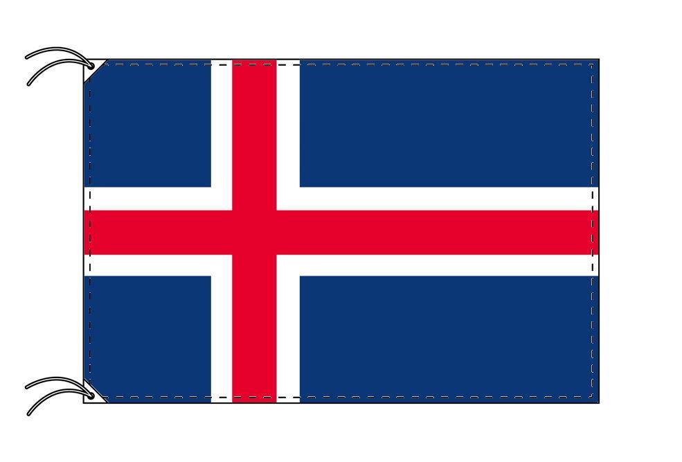 【レンタル】 3泊4日レンタル旗 アイスランド国旗・付属品セット[90×135cm国旗・3mポール・扁平玉・スタンド・高級テトロン製]安心の日本製
