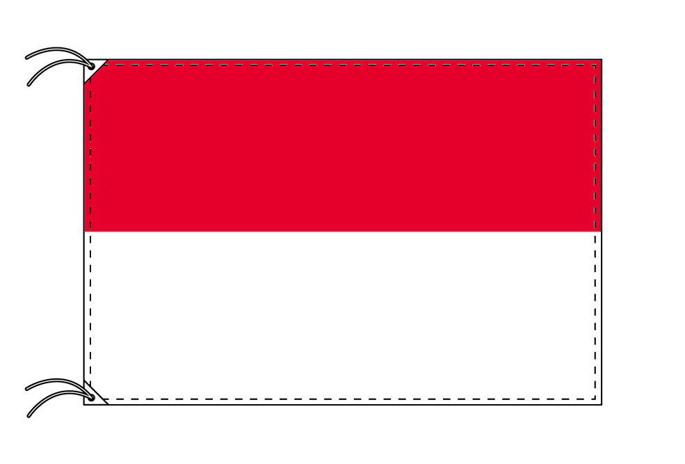 【レンタル】 3泊4日レンタル旗 インドネシア国旗・付属品セット[90×135cm国旗・3mポール・扁平玉・スタンド・高級テトロン製]安心の日本製
