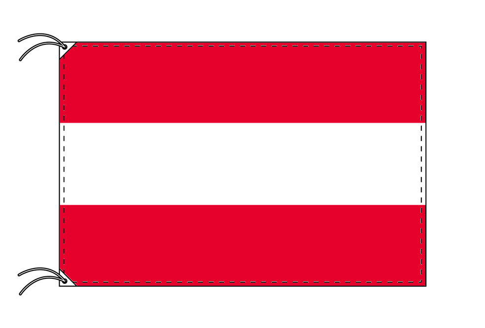 【レンタル】 3泊4日レンタル旗 オーストリア国旗・付属品セット[90×135cm国旗・3mポール・扁平玉・スタンド・高級テトロン製]安心の日本製