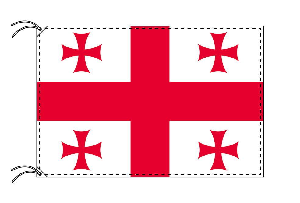 【レンタル】 3泊4日レンタル旗 ジョージア(グルジア)国旗・付属品セット[90×135cm国旗・3mポール・扁平玉・スタンド・高級テトロン製]安心の日本製