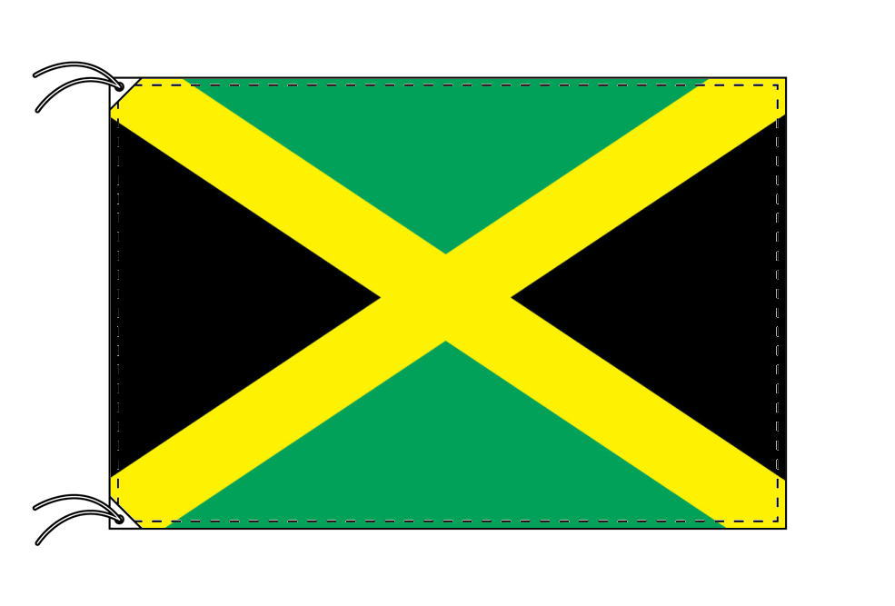 【レンタル】 3泊4日レンタル旗 ジャマイカ国旗・付属品セット[90×135cm国旗・3mポール・扁平玉・スタンド・高級テトロン製]安心の日本製
