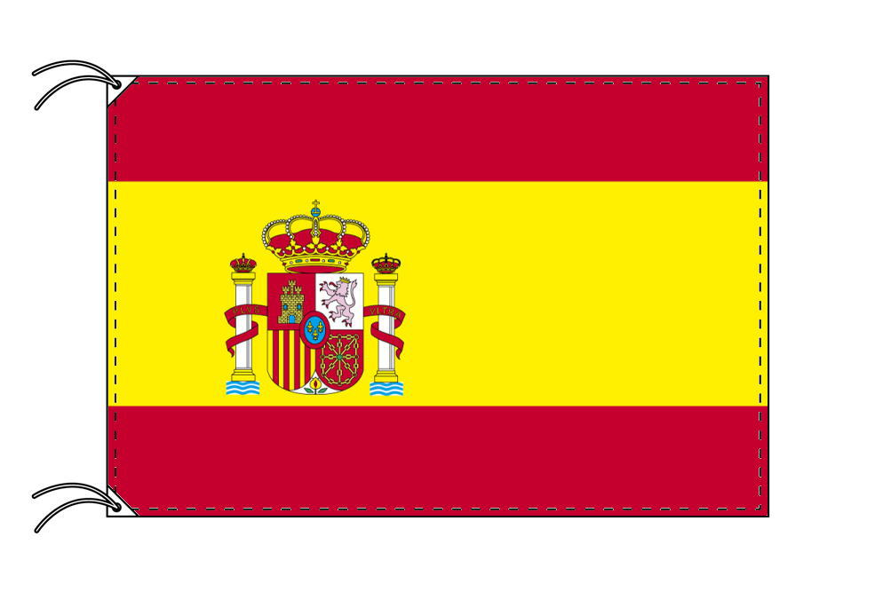 【レンタル】 3泊4日レンタル旗 スペイン(旗単品)[紋章入]国旗(旗単品)[90×135cm国旗・高級テトロン製]安心の日本製