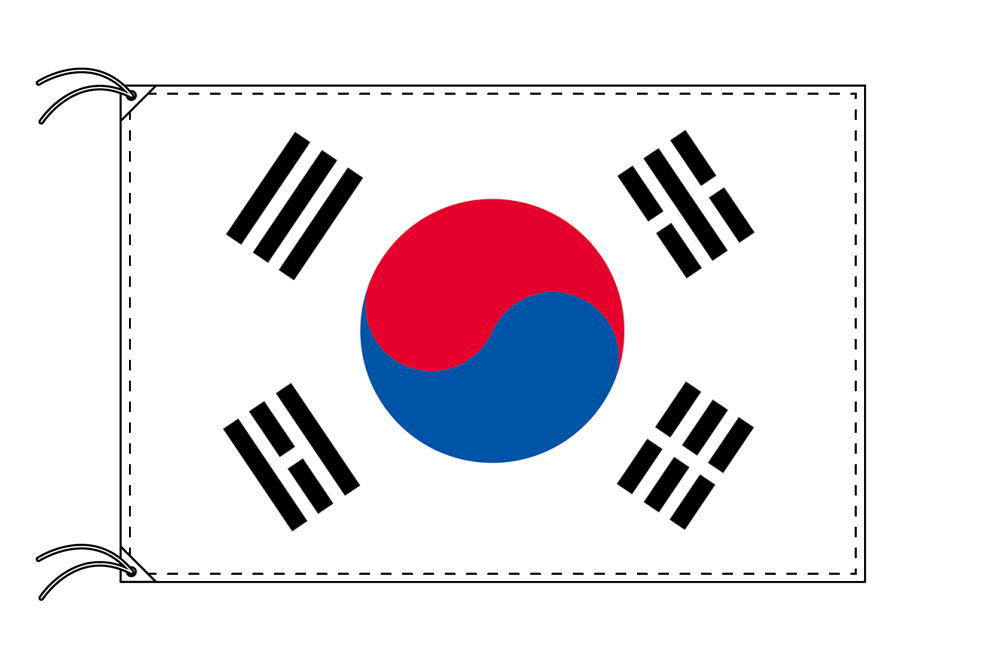 【レンタル】 3泊4日レンタル旗 大韓民国[韓国]国旗・付属品セット[90×135cm国旗・3mポール・扁平玉・スタンド・高級テトロン製]安心の日本製