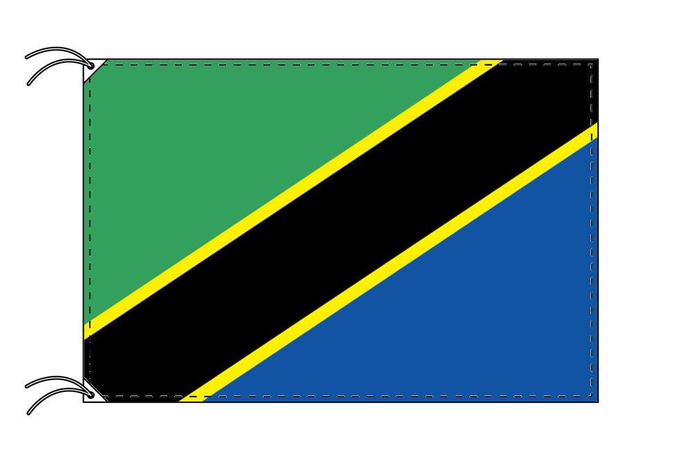 【レンタル】 3泊4日レンタル旗 タンザニア国旗(旗単品)[90×135cm国旗・高級テトロン製]安心の日本製