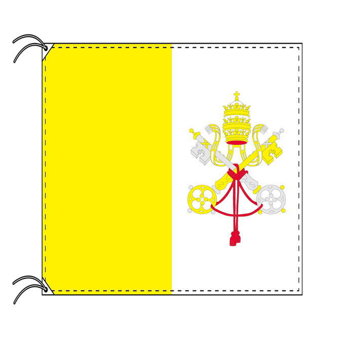 【レンタル】 3泊4日レンタル旗 単品 バチカン国旗 90×90cm国旗・高級テトロン製 安心の日本製